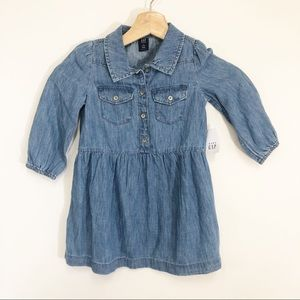 GAP NWT Chambray Button Down Long Sleeve Dress